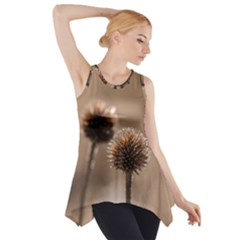 Withered Globe Thistle In Autumn Macro Side Drop Tank Tunic