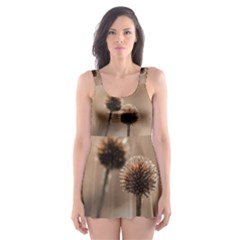 Withered Globe Thistle In Autumn Macro Skater Dress Swimsuit