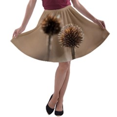 Withered Globe Thistle In Autumn Macro A-line Skater Skirt