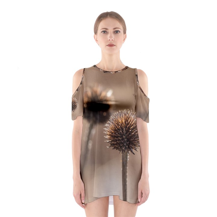 Withered Globe Thistle In Autumn Macro Cutout Shoulder Dress