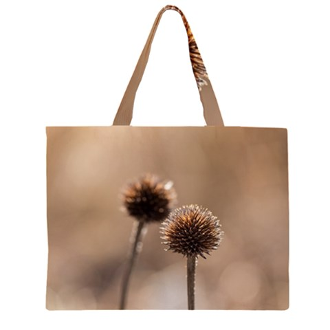 Withered Globe Thistle In Autumn Macro Large Tote Bag