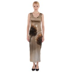 Withered Globe Thistle In Autumn Macro Fitted Maxi Dress