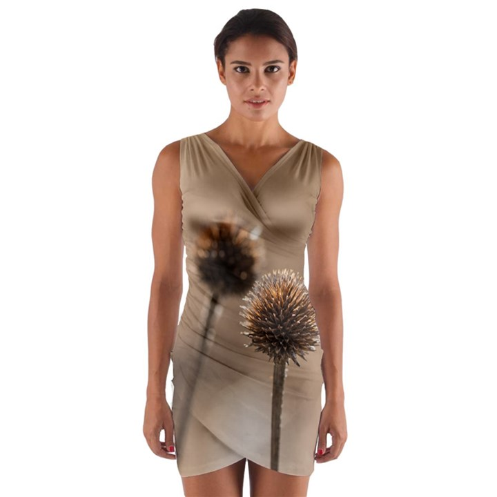 Withered Globe Thistle In Autumn Macro Wrap Front Bodycon Dress