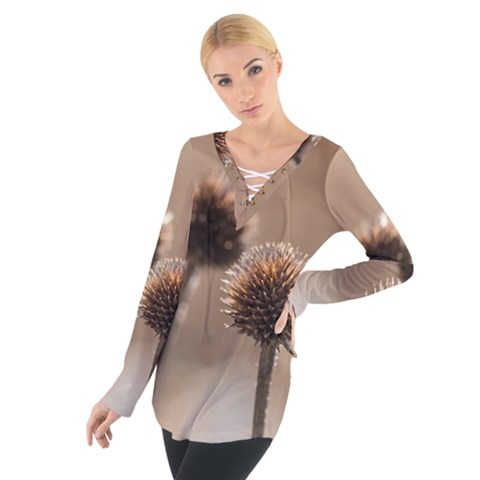 Withered Globe Thistle In Autumn Macro Women s Tie Up Tee