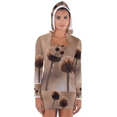 Withered Globe Thistle In Autumn Macro Women s Long Sleeve Hooded T-shirt