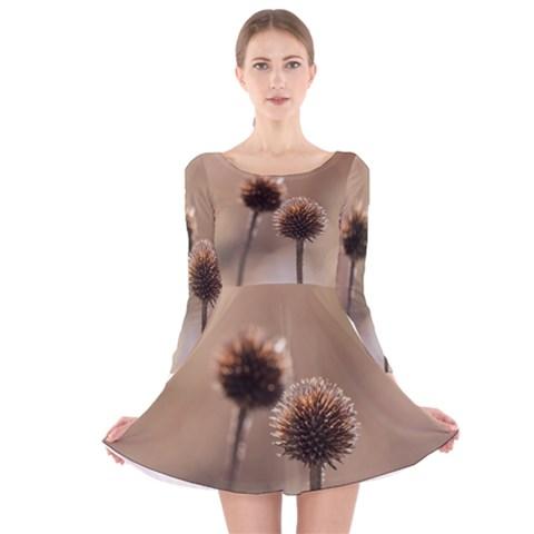 Withered Globe Thistle In Autumn Macro Long Sleeve Velvet Skater Dress
