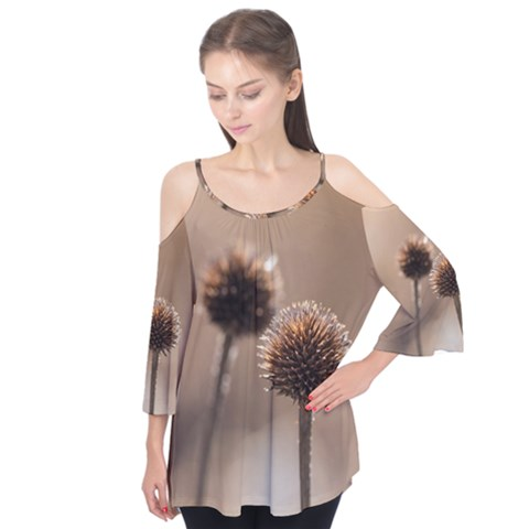 Withered Globe Thistle In Autumn Macro Flutter Tees