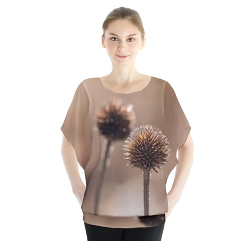 Withered Globe Thistle In Autumn Macro Blouse