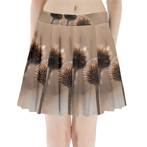 Withered Globe Thistle In Autumn Macro Pleated Mini Skirt
