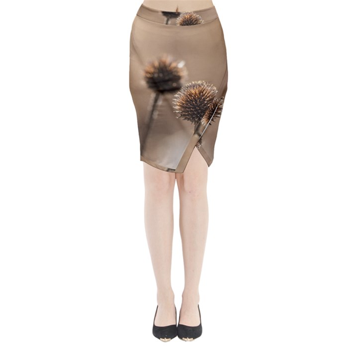 Withered Globe Thistle In Autumn Macro Midi Wrap Pencil Skirt