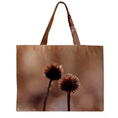 Withered Globe Thistle In Autumn Macro Medium Zipper Tote Bag