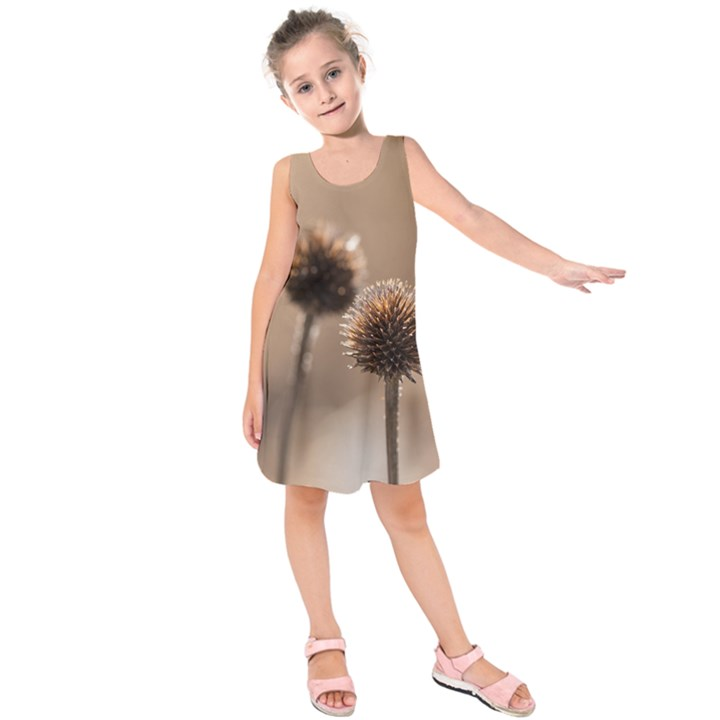 Withered Globe Thistle In Autumn Macro Kids  Sleeveless Dress