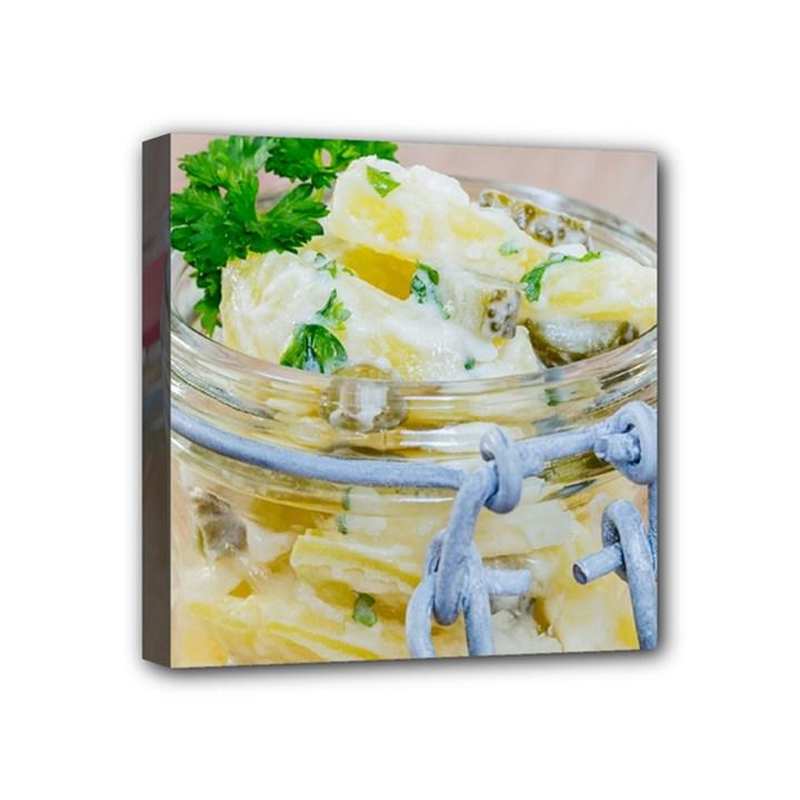 Potato salad in a jar on wooden Mini Canvas 4  x 4