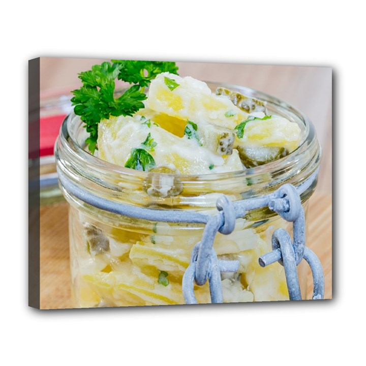 Potato salad in a jar on wooden Canvas 14  x 11