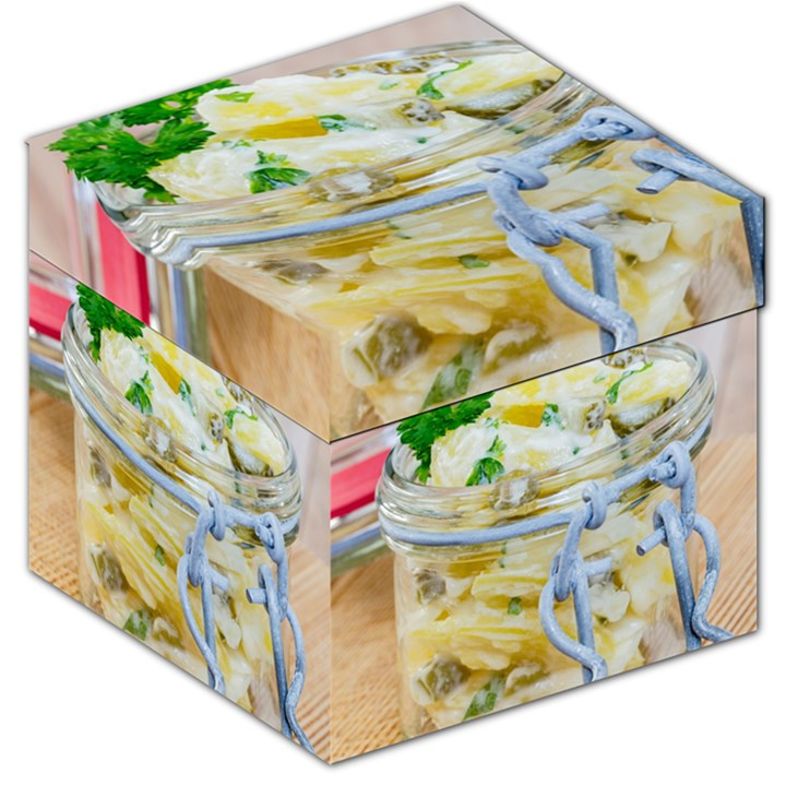 Potato salad in a jar on wooden Storage Stool 12