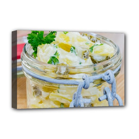 Potato Salad In A Jar On Wooden Deluxe Canvas 18  X 12