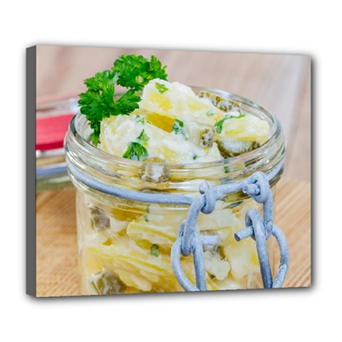 Potato Salad In A Jar On Wooden Deluxe Canvas 24  X 20