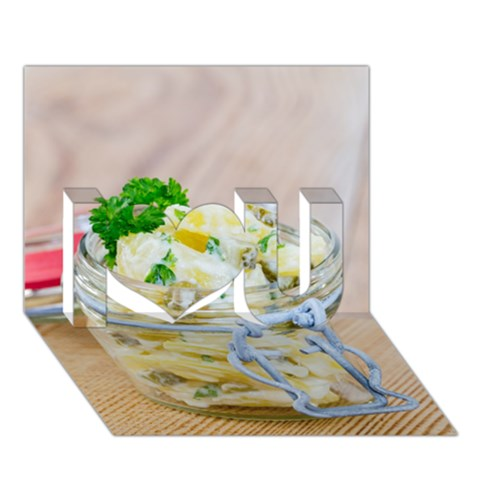 Potato salad in a jar on wooden I Love You 3D Greeting Card (7x5)