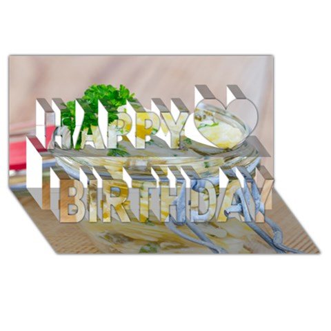 Potato salad in a jar on wooden Happy Birthday 3D Greeting Card (8x4)