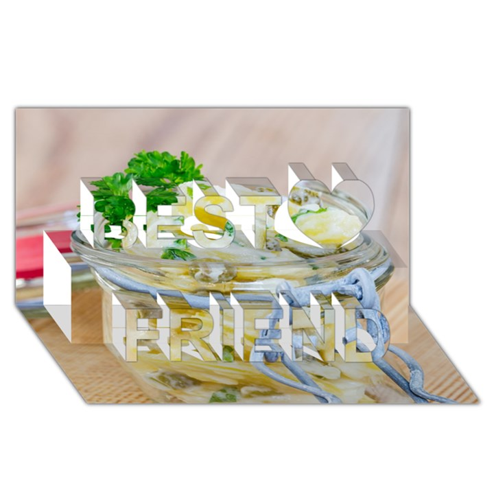 Potato salad in a jar on wooden Best Friends 3D Greeting Card (8x4)
