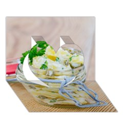 Potato salad in a jar on wooden Heart 3D Greeting Card (7x5)