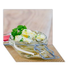 Potato salad in a jar on wooden Heart Bottom 3D Greeting Card (7x5)