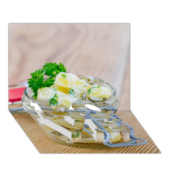 Potato salad in a jar on wooden LOVE Bottom 3D Greeting Card (7x5)