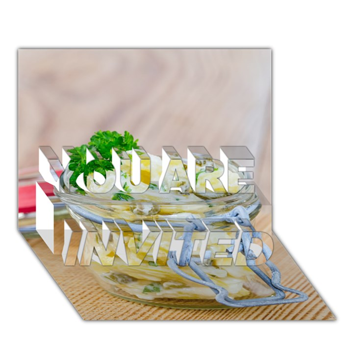 Potato salad in a jar on wooden YOU ARE INVITED 3D Greeting Card (7x5)
