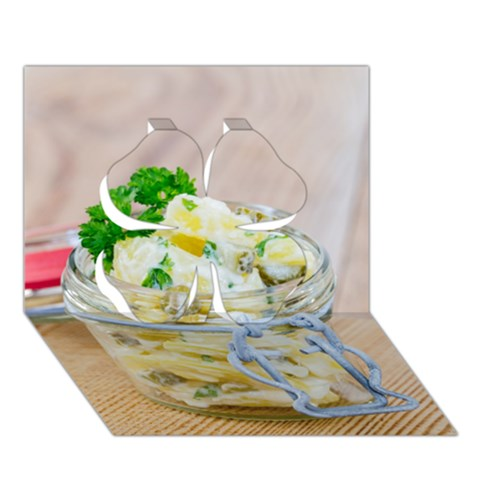 Potato salad in a jar on wooden Clover 3D Greeting Card (7x5)