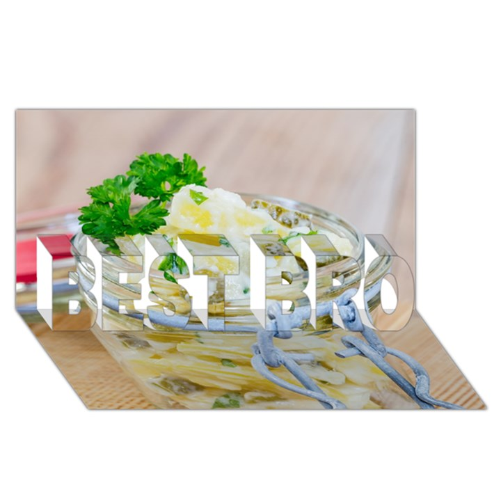 Potato salad in a jar on wooden BEST BRO 3D Greeting Card (8x4)