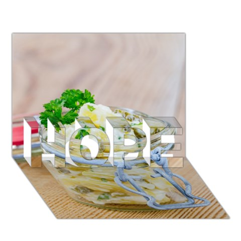 Potato salad in a jar on wooden HOPE 3D Greeting Card (7x5)