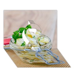 Potato salad in a jar on wooden Ribbon 3D Greeting Card (7x5)