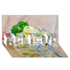 Potato salad in a jar on wooden BELIEVE 3D Greeting Card (8x4)