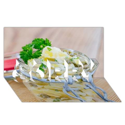 Potato salad in a jar on wooden SORRY 3D Greeting Card (8x4)
