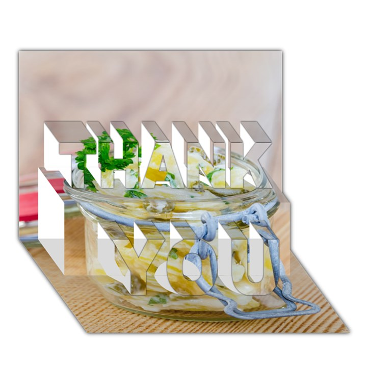 Potato salad in a jar on wooden THANK YOU 3D Greeting Card (7x5)