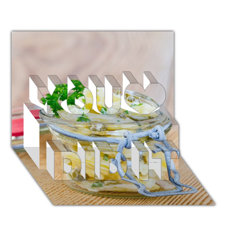 Potato salad in a jar on wooden You Did It 3D Greeting Card (7x5)