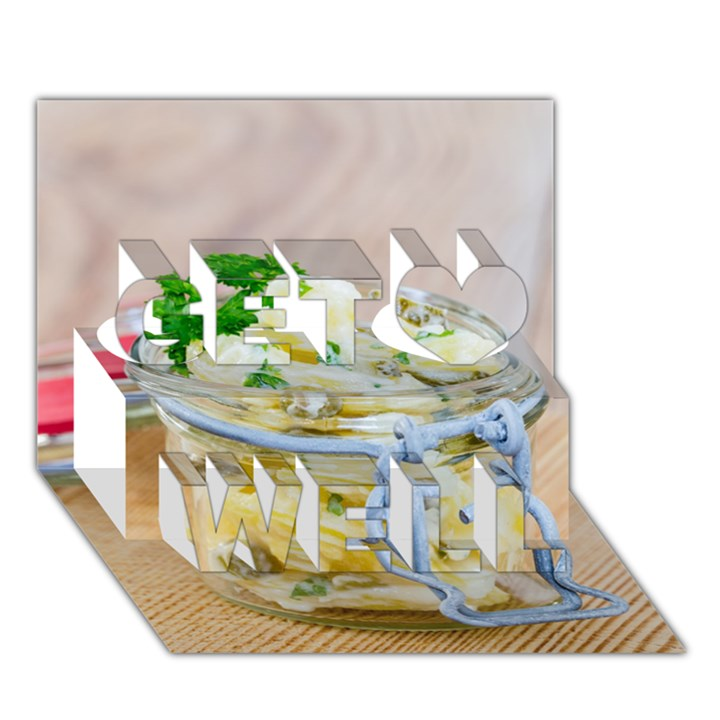 Potato salad in a jar on wooden Get Well 3D Greeting Card (7x5)