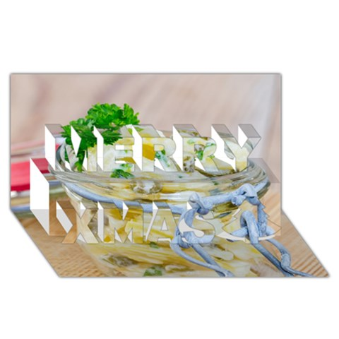 Potato salad in a jar on wooden Merry Xmas 3D Greeting Card (8x4)