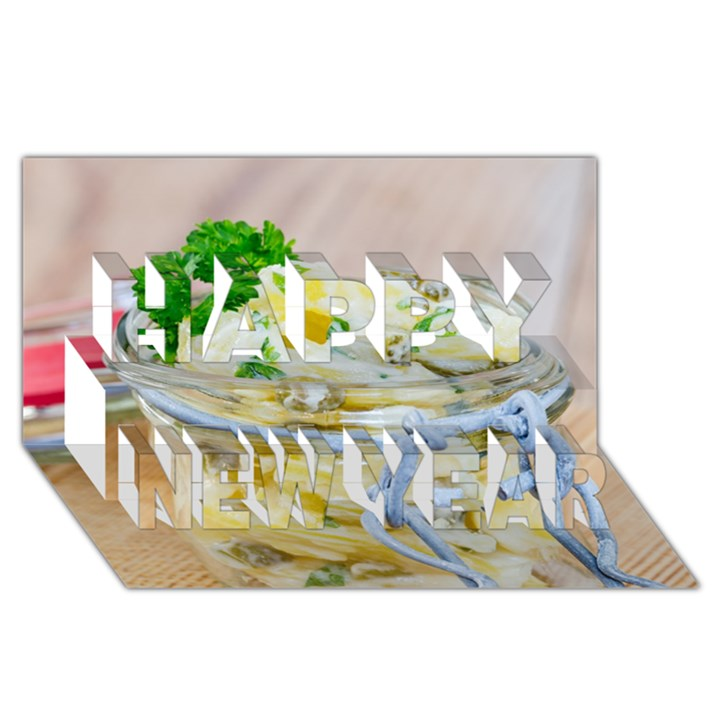 Potato salad in a jar on wooden Happy New Year 3D Greeting Card (8x4)