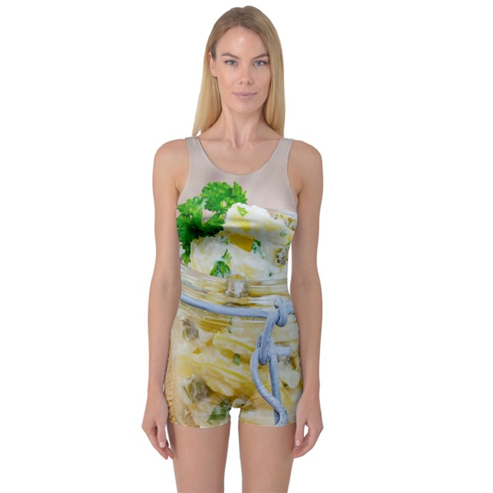 Potato salad in a jar on wooden One Piece Boyleg Swimsuit