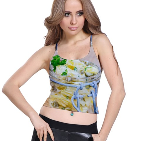 Potato salad in a jar on wooden Spaghetti Strap Bra Top