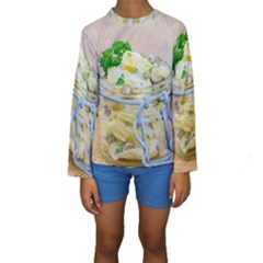 Potato salad in a jar on wooden Kids  Long Sleeve Swimwear