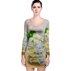 Potato salad in a jar on wooden Long Sleeve Bodycon Dress