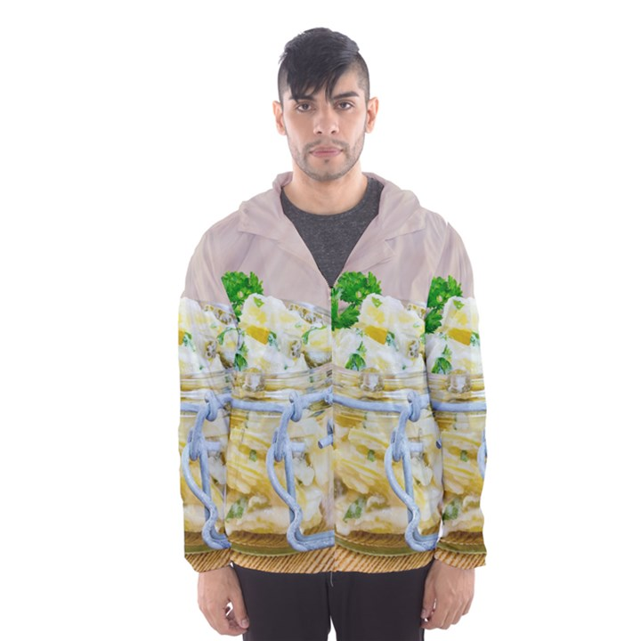 Potato salad in a jar on wooden Hooded Wind Breaker (Men)