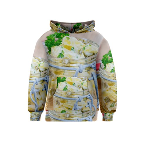 Potato salad in a jar on wooden Kids  Pullover Hoodie
