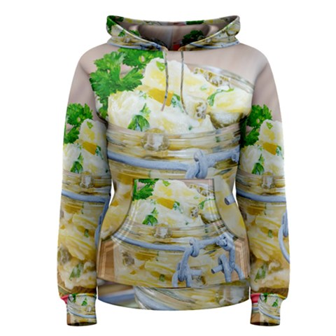 Potato salad in a jar on wooden Women s Pullover Hoodie