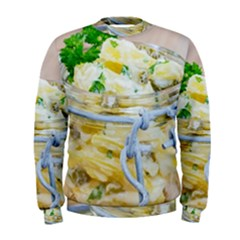 Potato salad in a jar on wooden Men s Sweatshirt