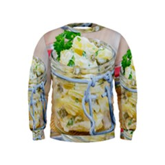 Potato salad in a jar on wooden Kids  Sweatshirt