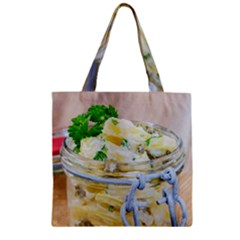 Potato Salad In A Jar On Wooden Zipper Grocery Tote Bag