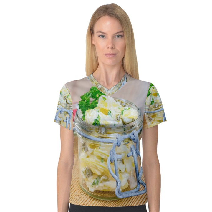 Potato salad in a jar on wooden Women s V-Neck Sport Mesh Tee